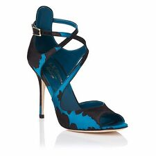 L.K. Bennett Vintage Serena Black Blue Floral high Pumps Sz 37 NWT $395