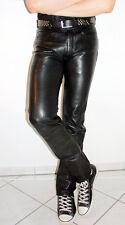 Knackige HEIN GERICKE Lederjeans Lederhose schwarz RED ZIPPER Gr.48 SAHNETEIL!!!