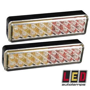 Pair of Slimline 135mm Dual Voltage 12v - 24v LED Tail Trailer Lights *5YR WNTY*