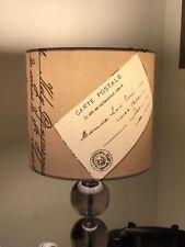 HANDMADE 20cm FABRIC LAMPSHADE CARTE POSTAL VINTAGE POSTCARDS TAUPE COTTAGE FARM