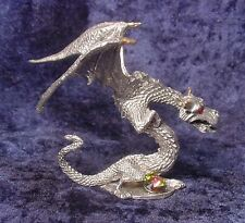 Pewter Drake Dragon - Colorful Crystal Accent