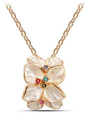 Elegant Champagne & Gold Flower with Colourful Rhinestones Pendant Necklace N259