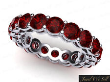 5.10Ct Round Ruby Open Gallery Shared Prong Eternity Ring 14k White Gold AAAA