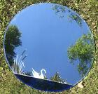 """Vintage Donnelly Kelley Round Beveled Art Deco Cobalt Blue Swan Mirror 26"""""""