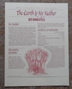 """*Bev Doolittle """"EARTH IS MY MOTHER"""" Certificate of Authenticity/Registration-Art"""
