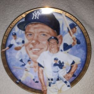 "1992 MICKIE MANTLE COLLECTOR PLATE ""THE HAMILTON COLLECTION"" W/GOLD RIM"