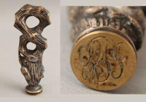 Antique 19thC Victorian Bronze Figural Oak Acorn Engraved Desktop Wax Seal NR