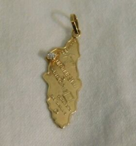 14k Yellow Gold Diamond Santa Cruz Yamamoto Santa Cruz San Nicolas Pendant