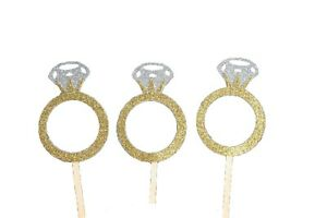"""Diamond RING Design Glitter 2-1/2"""" Cupcake Bridal Toppers CHOOSE Package Amount"""