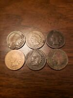 Lot Of 6 1864 Indian Head Cent Pennies A Few Could Be L's