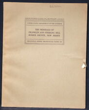 USGS The MINERALS of FRANKLIN and STERLING HILL, NEW JERSEY Scarce Item! 1935