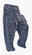 INDIAN BLUE COTTON JALEBI PRINT YOGA PANT WOMAN TROUSER ALI BABA BOHO HIPPIE