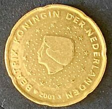 2001 Netherlands 20 Cent Euro Circulated Nordic Gold Coin  (1561)