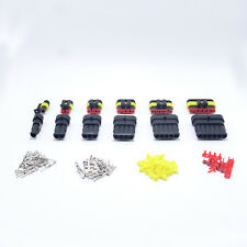 30set Kits 1/2/3/4/5/6 Pin Way HID Waterproof Electrical Wire Connector Plug AMP