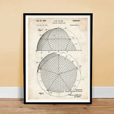 GEODESIC DOME BUCKMINSTER FULLER INVENTION 18x24 PATENT ART POSTER PRINT BUIL...