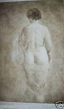 GASTON GERARD 1859-? GRAVURE EROTISME FEMME NUE EROTIQUE L'ECHARPE a