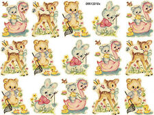 VinTaGe IMaGe AsSorTeD NuRSerY ANiMaLs ShaBby WaTerSLiDe DeCALs ~SMaLLeR SiZe