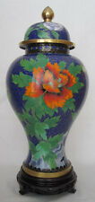 "12"" Chinese Beijing Cloisonne Cremation Urn Spring Bouquet Blue - New"
