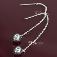 DROP DANGLE EARRINGS 9K GF 9CT WHITE GOLD FILLED BLACK PEARL LONG CLASSIC