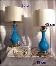 Paire de Lampes XIXe Opaline Bleue et Bronze Doré époque Napoléon III électrifié