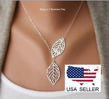Silver ~ Two Leaves Pendant Choker Necklace ~ US Seller ~ BRAND NEW (Quick Ship)