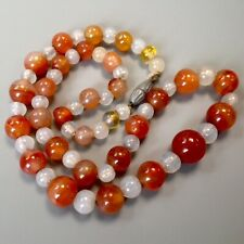 Vintage Art Deco Natural Gemstone Agate Carnelian & Glass Bead Necklace