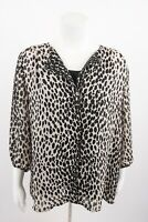 Talbots Women's Blouse Shirt & cami Sz 14 Black White Animal Print 3/4 Sleeve