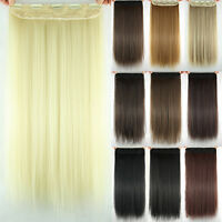 Long Straight Full Head Clip in Hair Hidden Extensions Natural Thick Hairpiece