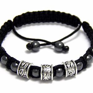 Elégant BRACELET Homme STYLE Tibétain Mala Perles métal+HEMATITE+fil nylon NOIR
