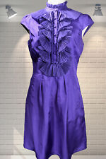 Luxurious SILK Purple High Neck Ruffle Dress by TED BAKER - Size 1 Approx UK 8