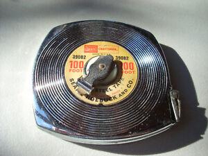 Vintage Craftsman Sears Roebuck #39082 USA 100ft. Steel Reel Measuring Tape