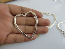 5pcs Large Antique Silver Abstract Open Loving-heart Charm Necklace Pendant