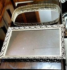 Hollywood Regency Vintage Mirrored Vanity Tray Set ~ Gold Filigree Frame