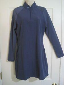 Adidas Golf Women's Blue Long Sleeve 1/4 Zip Striped Sleeve Dress S