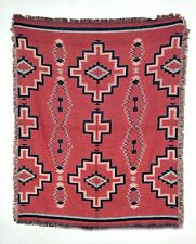 "50x60"" Blanket Sofa Throw Soft Jacquard Cotton Classic Southwestern RED  NEW"