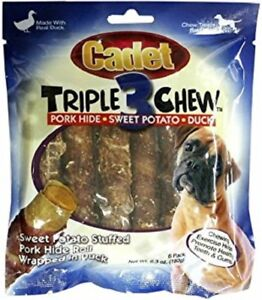 IMS Cadet TRIPLE CHEWS 6 pack DUCK + PORK HIDE + SWEET POTATO Dog Chew Treat NEW