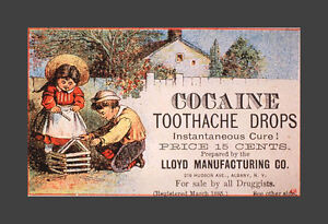 Framed 1800's Medicine Print – Cocaine Toothache Drops 15¢ (Medical Picture Art)