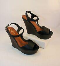New Candies Macoa Black Platform Wedge Peep Toe Dress Sandals Women Sz 10M Shoes