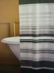 """Home Gray Horizon Black, Gray, & White Shower Curtain 72"""" x 72"""" NIP"""