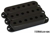 *NEW Black Stratocaster PICKUP COVER SET Covers Fender Strat Guitar Single Coil