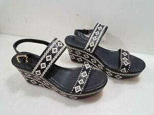 Tory Burch Womens Patterned Leather Slip-On Wedge Sandals Size 9.5