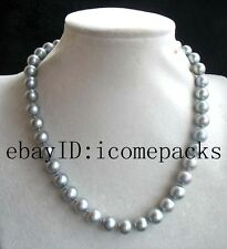"""wholesale  freshwater pearl gray A round 10-11mm necklace 18"""" beads nature"""