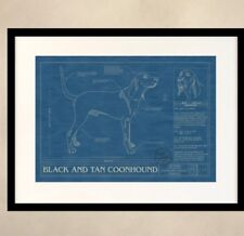 *Reduced! Framed Black and Tan Coonhound print - Animal Blueprint Company