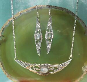 Set Orecchini Collier Pietra di Luna 2 Sich Zugeneigte Kraniche Argento Sterling