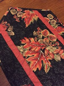 Handcrafted-Quilted Table Runner - Fall Leaf Bouquets - Brilliant Colors - 2021