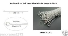 100 Pc Sterling Silver Ball Head Pins Wire 24 gauge 1.5 inch Top Qty Headpins.