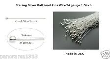 Sterling Silver Ball Head Pins Wire 24 gauge1.5 inch Top Qty Headpins-100 Pcs