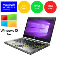 HP LAPTOP ELITEBOOK 8470p i5 2.6GHz 16GB 180GB SSD HD WEBCAM WINDOWS 10 PRO WiFi