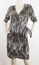 Regular Size Animal Print Polyester Wrap Dresses for Women