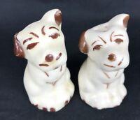 Dog Salt and Pepper Shakers Porcelain Ceramic Puppies Figural Shawnee